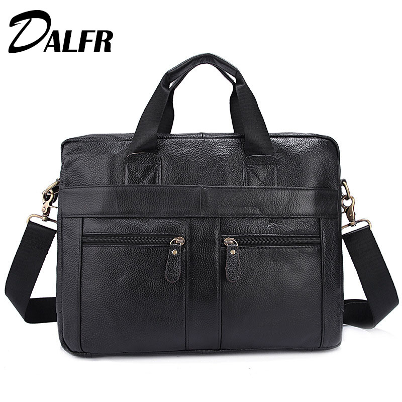 DALFR Leather Messenger Bags 18 Inch Water Proof Handbags Zipper Style Business Briefcase Solid Laptop Bags Cowhide