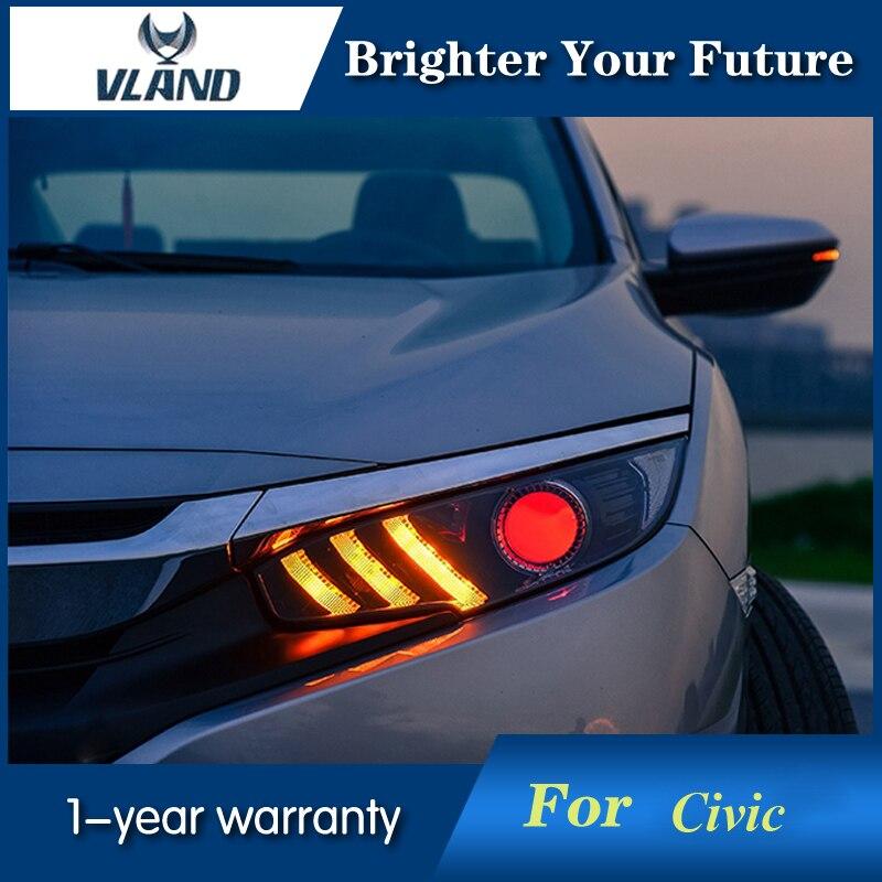 Pour Honda Civic 2012-2014 phares phare DRL lentille Double faisceau H7 caché xénon