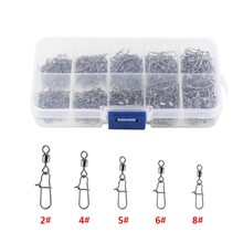 210pcs/ Box Stainless Steel Fishing Swivel Snap Ball Bearing Lock Rolling Swivel Connector hooked Snaps Pin Fishhook Tackle Kit(China)