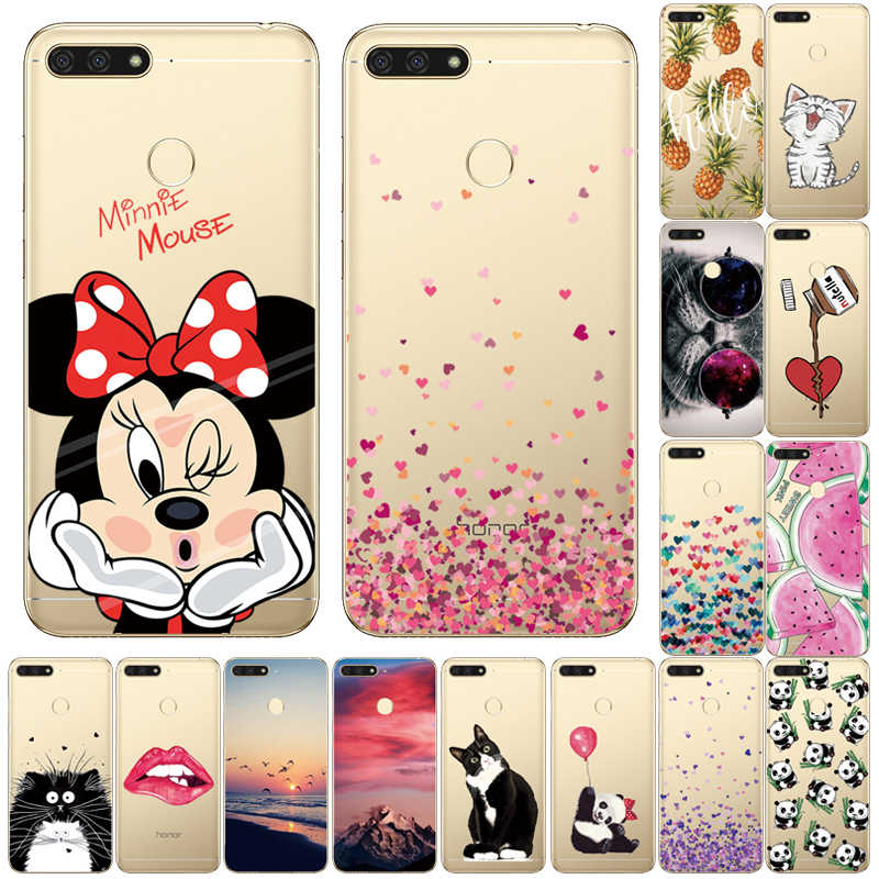 "For Huawei Honor 7A Pro Case Cover Fundas Honor 7A Pro 5.7"" Cute cartoon panda cat on Phone Case Coque For Huawei Honor 7A Pro"
