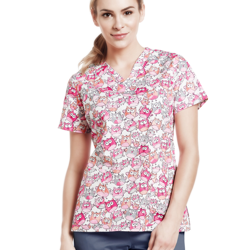 Women Owl Print Medic Scrubs Nurse Uniform Medical Uniforms 4 Ways Stretch V Neck Scrubs Top Drawstring Pants Workwear Outfits