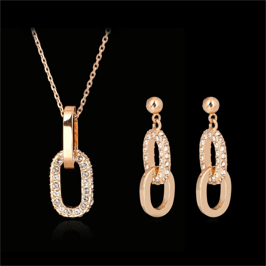 DFS239 AAA+Cubic Zirconia Necklaces Pendants Drop Earrings Rose Gold Color Crystal Wedding Jewelry Sets Joias