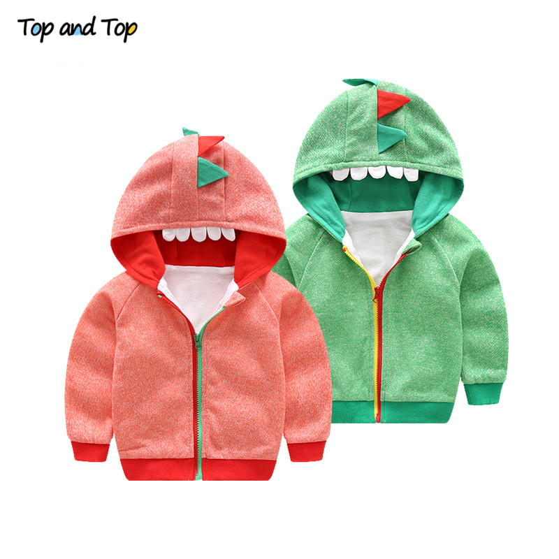 Top and top Baby Clothing Autumn Baby Boys Jacket Cartoon Lovely Hooded Baby Outerwear Baby Boy Coat Toddler Clothes