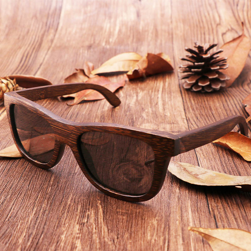 30cd5b331e 100% natural brown bamboo wooden sunglasses retro handmade polarized lenses  bamboo sunglasses brown frame glasses with gift box