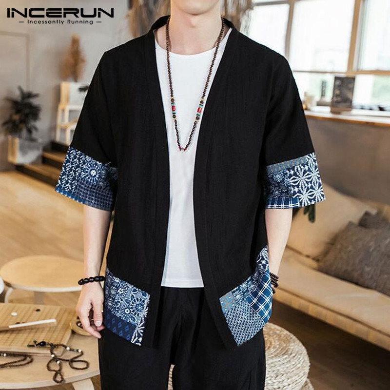 INCERUN Outerwear Kimono Cardigan Vintage 5XL Trench Cotton Patchwork Fashion Loose Casual