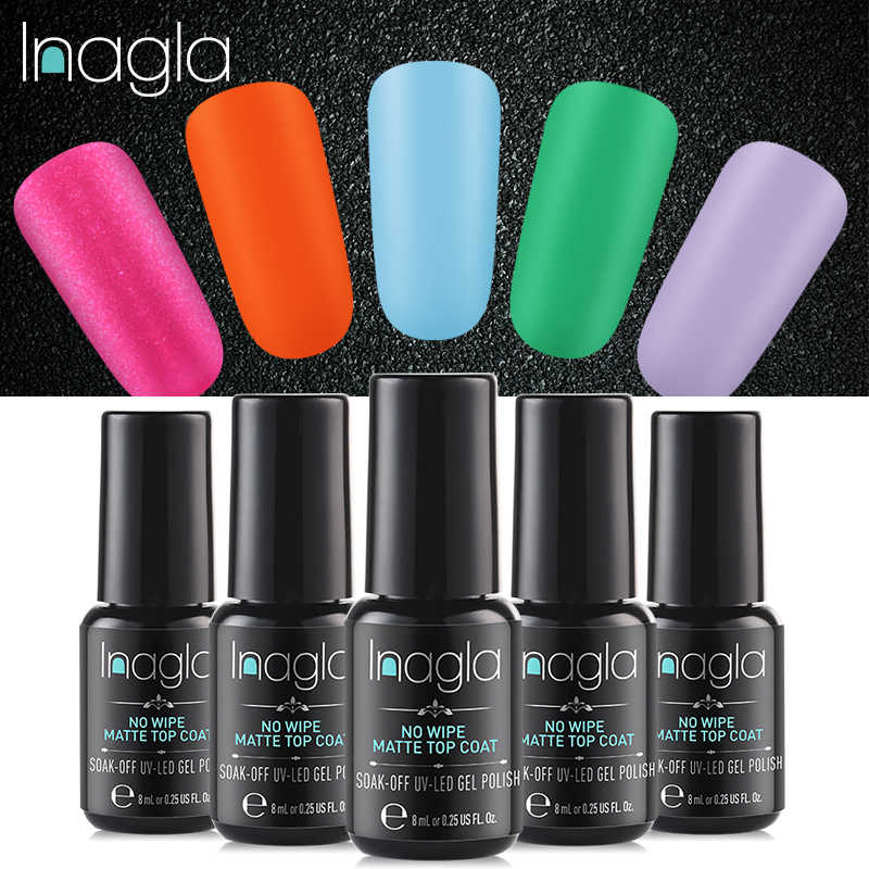 Inagla Frosted Surface Matt Top Coat Gel Black Bottle 8ML Nail Polish Nail Art UV LED Soak-Off Surface Permanent Gel Lacquer