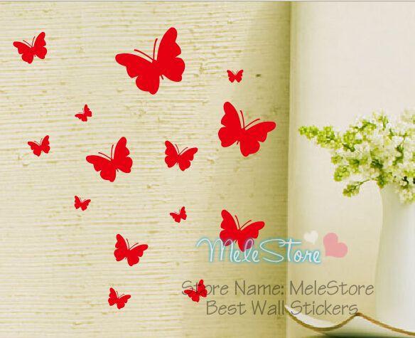 14pcs Butterfly Wall Sticker Animal Cute Home Decor 26 Color Flower Garden Shop Showcase Decoration Butterfies Window Glass