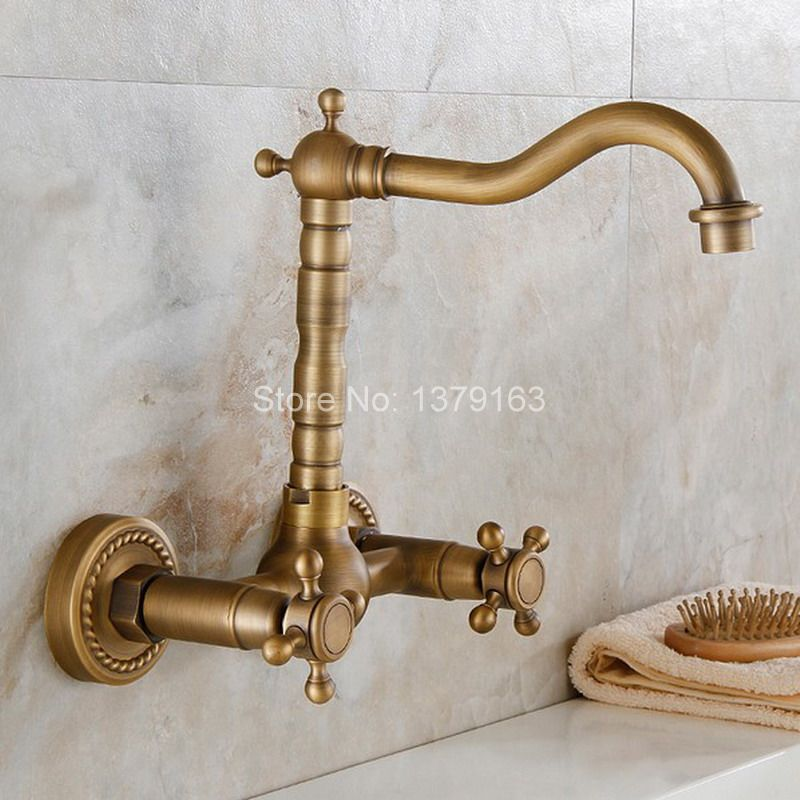 Antique Brass Wall Mounted Dual Cross Handles Swivel Spout Kitchen Sink Bathroom Basin Faucet Cold & Hot Mixer Tap asf006a vintage retro antique brass double cross handles swivel spout kitchen bathroom tub sink faucet mixer water taps asf006