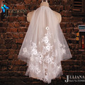 New Short Bridal Veils Two-Layer Custom Made Wedding Accessories 2015 Summer Style Voile Mariage Lace & Flowers Velos De Novia