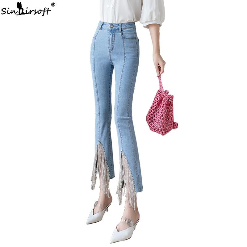 Women Elegant Jeans Pants High Waist Beading Tassel Flare Ankle Length Denim Pants OL Chic Light Blue Woman Trousers Summer New in Jeans from Women 39 s Clothing