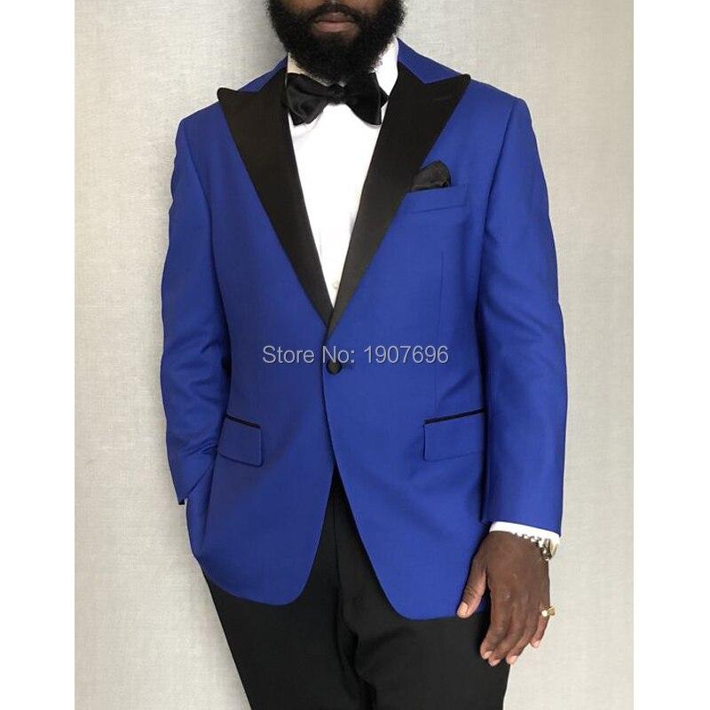 Royal Blue Wedding Men Suits For Groom White Peaked Lapel Latest Style Blazer Jacket Black Pants Male Clothing