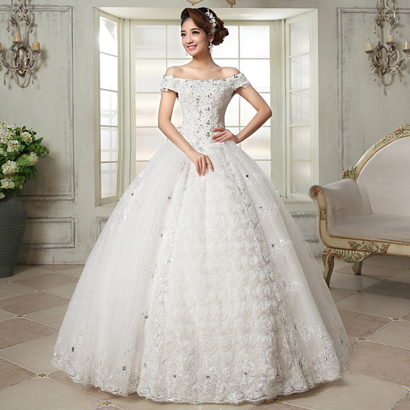 Ball Gown Sexy Pearls Beaded Arabic Wedding Dress Square Neckline Luxurious Wedding Gowns 2015 Wedding Dresses