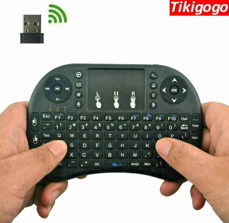 Tikigogo I8 2.4G Nirkabel Udara Mouse Bahasa Rusia Mini Keyboard Touchpad Remote Control untuk Android TV Box PC.