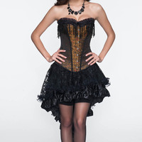 Brown Black Tassel Victorian Gothic Clothing Plus Size Corsets And Bustiers Sexy Corset Dress Corset Skirt
