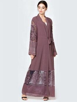 Abaya Broderie Maille Longue Robe Musulmane Caftan Marocain Dubaï Arabie Saoudite
