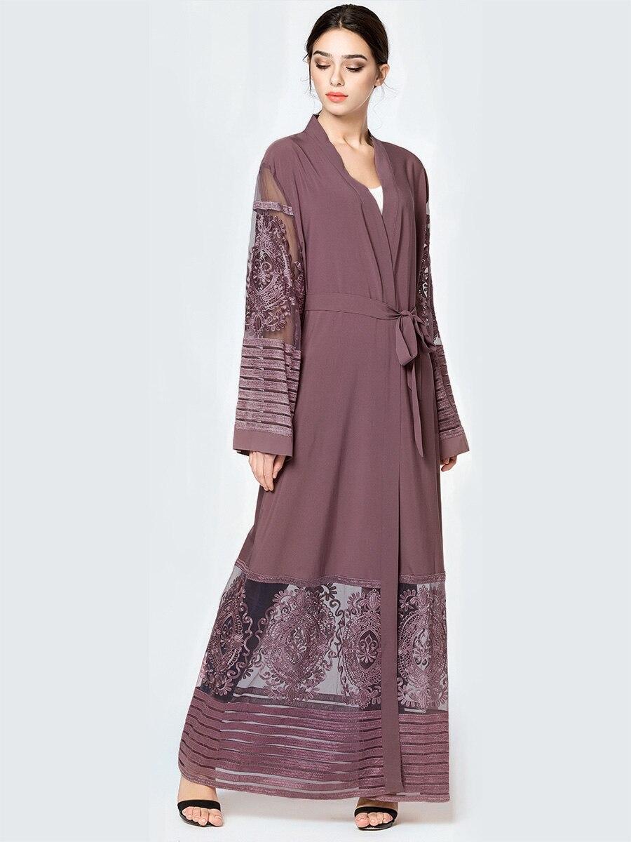 Fashion women abaya embroidery mesh long muslim dress