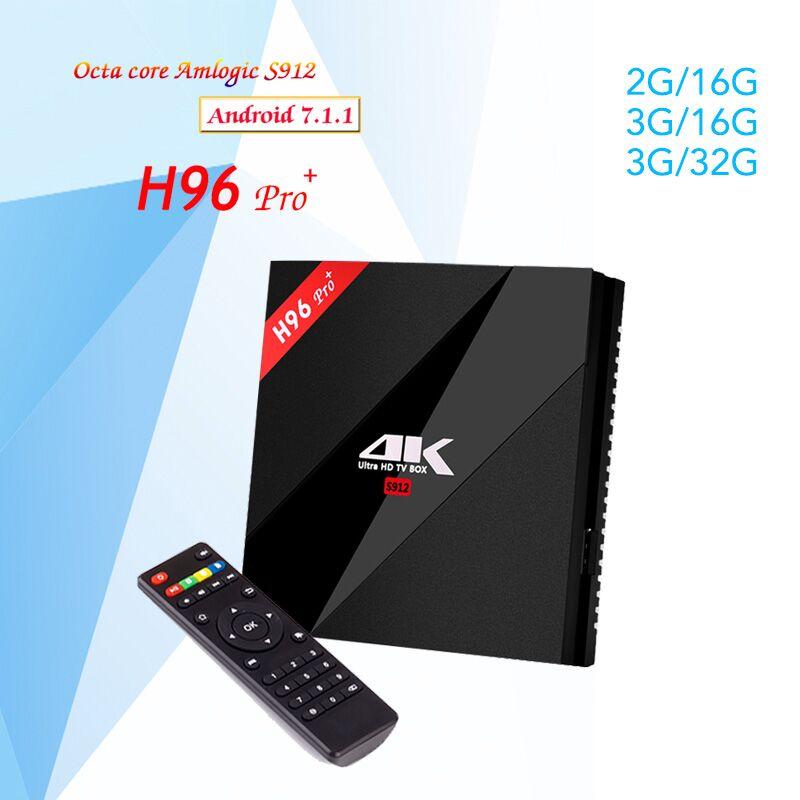 H96 Pro Plus + 4K Android 7.1 TV Box 3GB 32G Amlogic S912 Octa Core 64Bit 2.4G/5G Wifi BT 4.1 HD Set Top TV Box pk x96