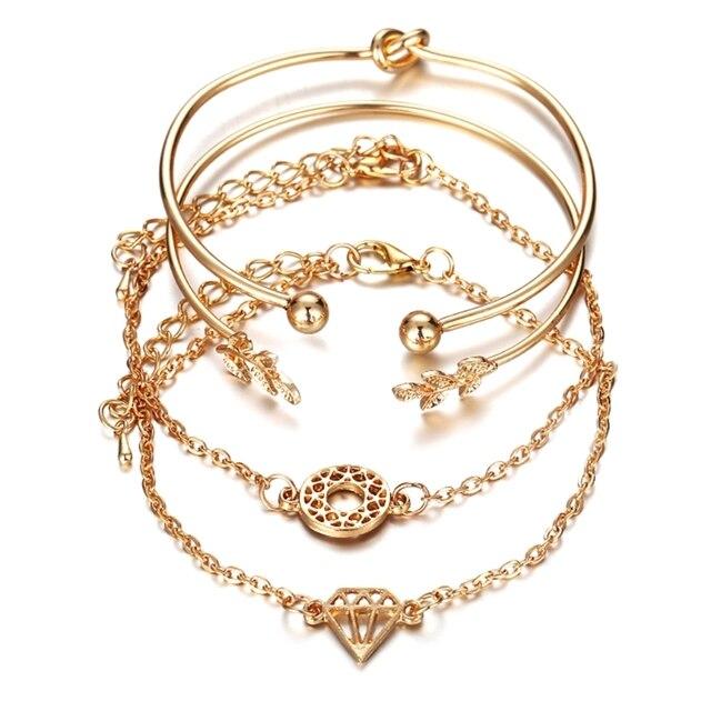 4 Pcs/Set Golden Bracelet...