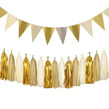 METABLE 1SET  Triangle Flags Bunting 8.2 Feet and Tissue Paper Tassels Garland for Baby Shower, Birthday Party Wall Decoration