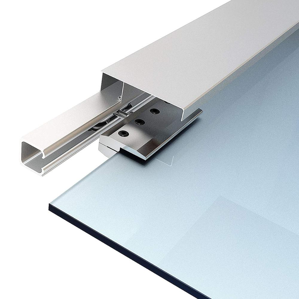 Voie cachée de matériel de porte de grange coulissante en verre brossé d'alliage d'aluminium de 6.6 pieds avec la couverture décorative - 4