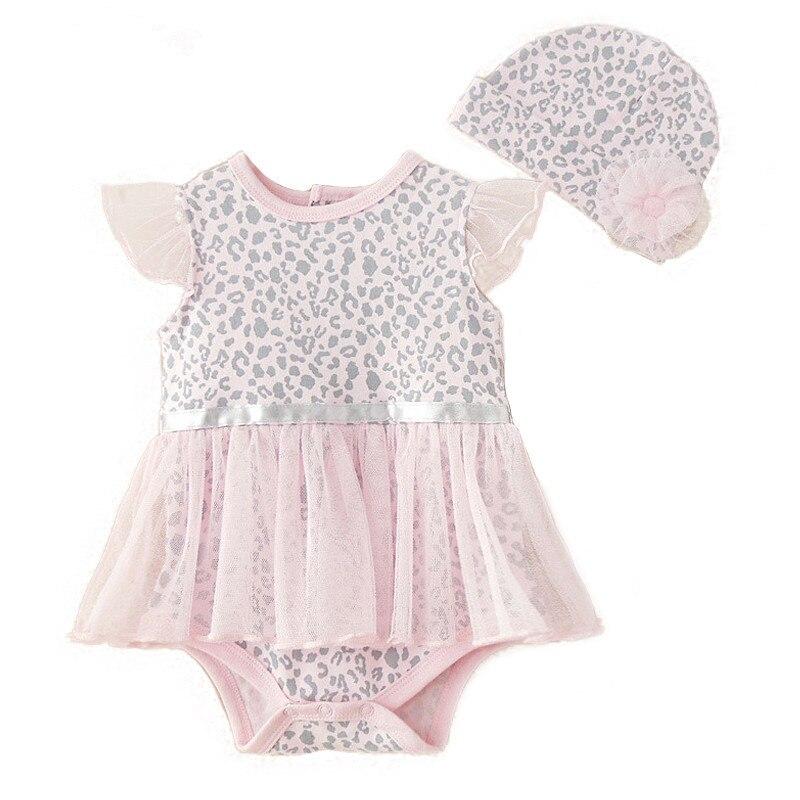 Новый леопардовый детский комбинезон, детская одежда, комплект одежды для маленьких девочек, комбинезон + шляпа, солнцезащитный костюм/детс...