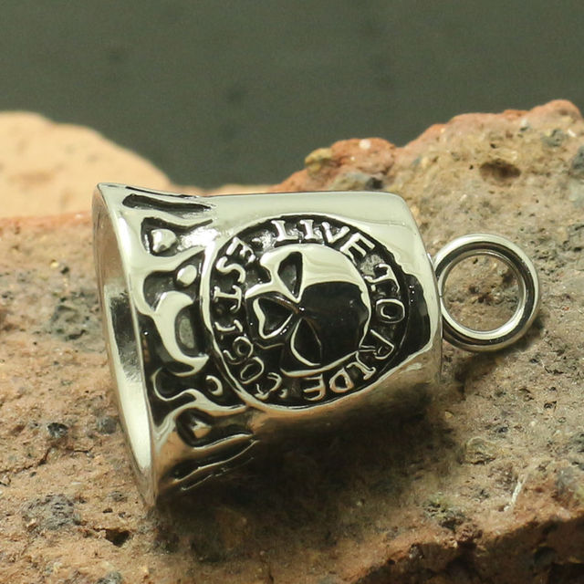 Men Boy 316L Stainlesss Steel Ghost Rider Flaming Skull 'Live To Ride'  'Ride To Live' Both Sides Skull Est 1903 Pendant