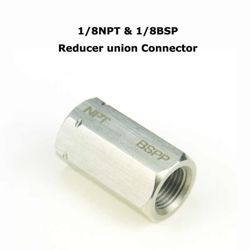 New Connection Hex Stainless Steel Pipe Adapter Reducing Coupler Reducer Union Connector Female Thread 1/8NPT * 1/8BSP