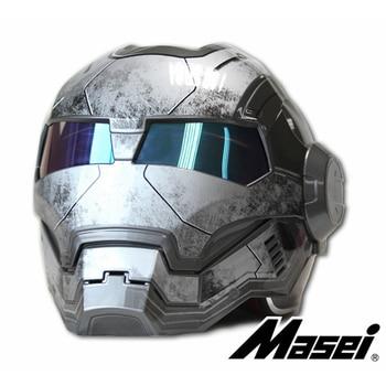 Bright / Matte Gray MASEI IRONMAN Iron Man helmet motorcycle helmet retro half helmet open face helmet 610 ABS casque motocross