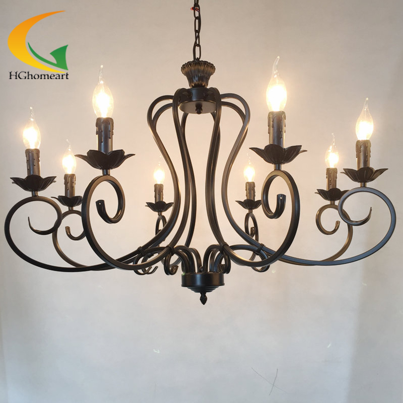Continental Iron candle chandelier living room lamp bedroom lamp minimalist restaurant Mediterranean retro chandelier continental iron candle chandelier bedroom garden bar restaurant lights retro clothing store america