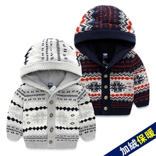 Boys and pile cap 2016 winter more new children's wear children's sweater knitting coat Baby sweater