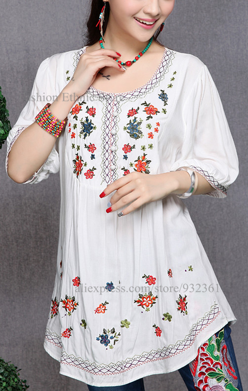 Vintage MEXICAN Flower Embroidery Mini Dresses women Dress Blouse Casual  DRESS Plus Size Women Clothing Vestidos Tops 2015-in Dresses from Women's  Clothing ...
