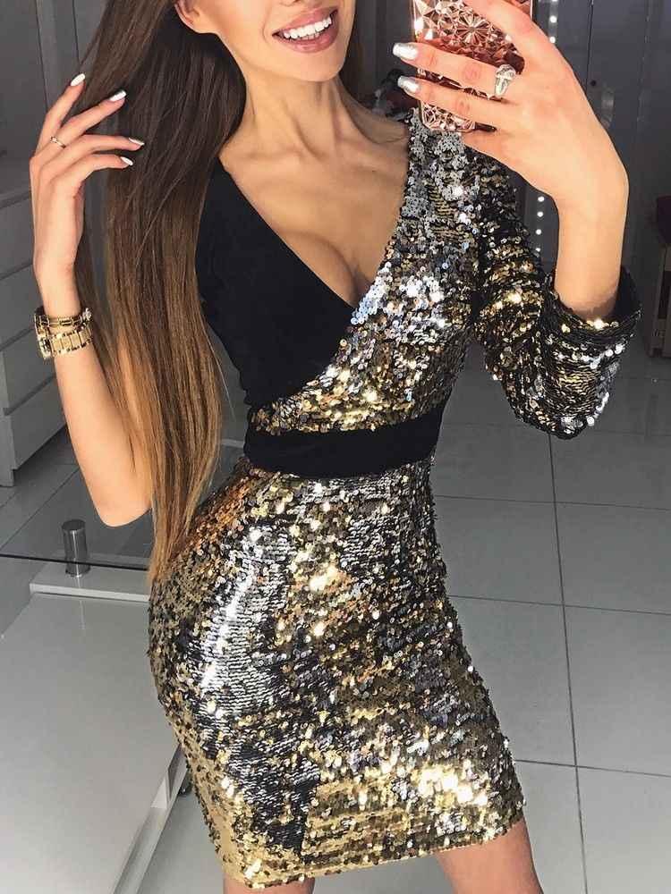 2019 nouveauté femmes à manches longues une épaule moulante sexy paillettes soirée Mini Club robe profonde col en v robes courtes