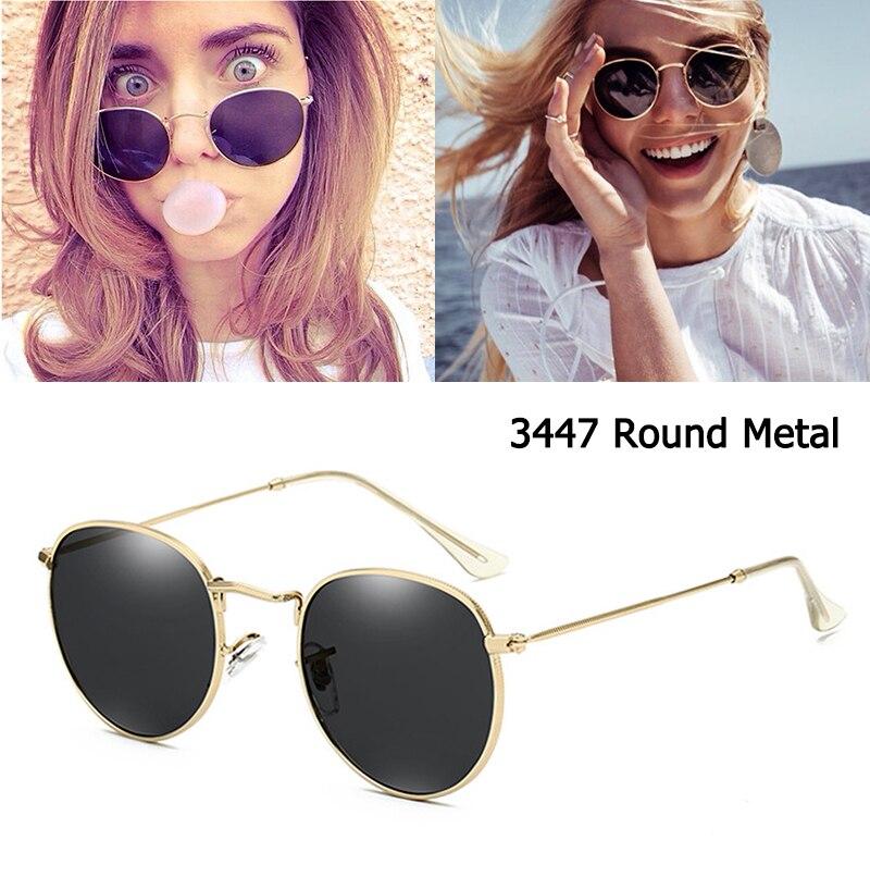DPZ Sunglasses Men Oculos-De-Sol Classic Metal-Style Round Rayeds 3447 Women Vintage Retro