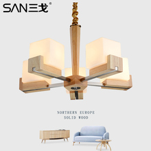 A1 Chinese Simplified pastoral solid wood chandelier living room bedroom fashion Nordic NEW led restaurant glass lamp lighting