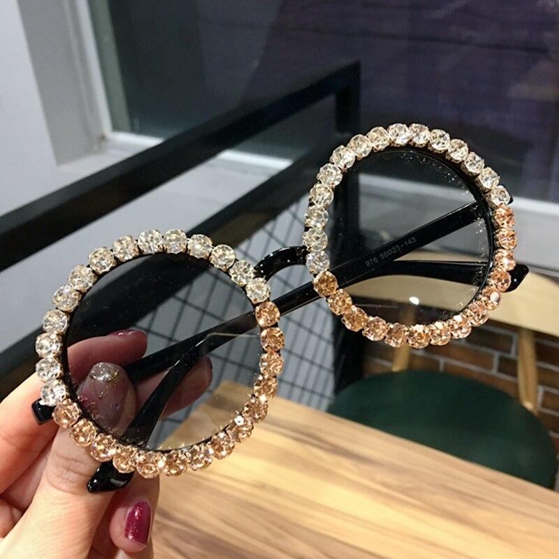 2019 Round Sunglasses Women Vintage Black Crystal Mix Rhinestone Sun Glasses For Kids Small Sun Glasses  Oculos De Sol UV400