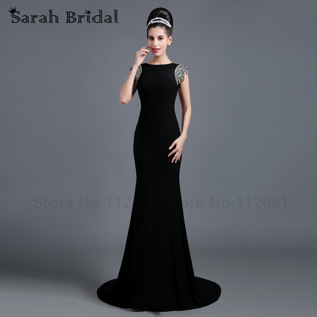 1608a623f752 Sexy Backless Black Lycra Crepe Mermaid Prom Gowns Beading Short Sleeves  2017 New Long Train Women Formal Evening Gowns SD255