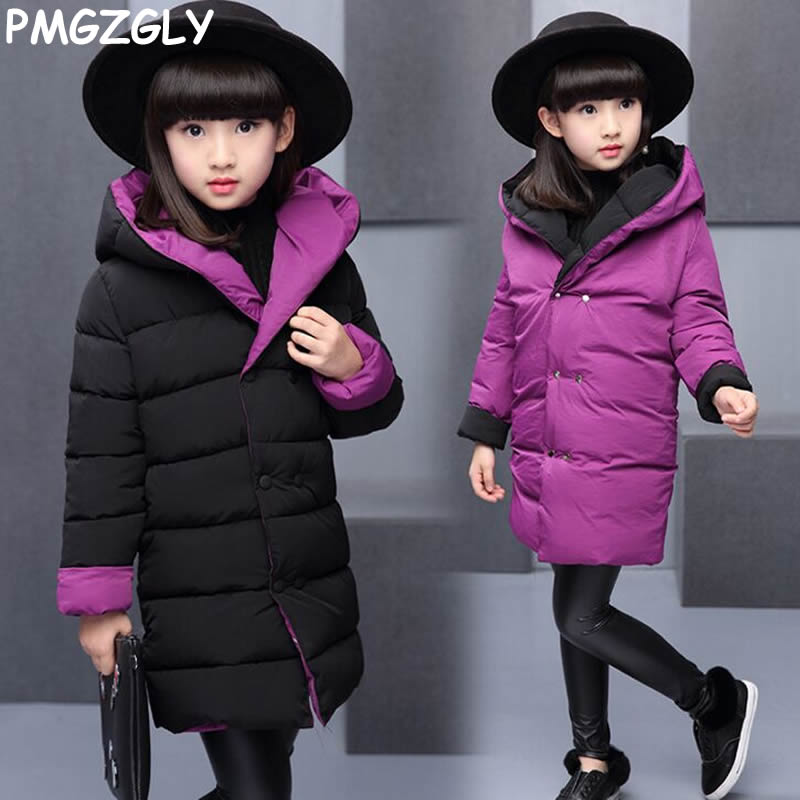 2017 Fashion Girl's Down jackets/coats winter Russia baby Coats thick Both sides can wear Warm jacket Children Outerwears jacket fashion girl winter down jackets coats warm baby girl 100% thick duck down kids jacket children outerwears for cold winter b332