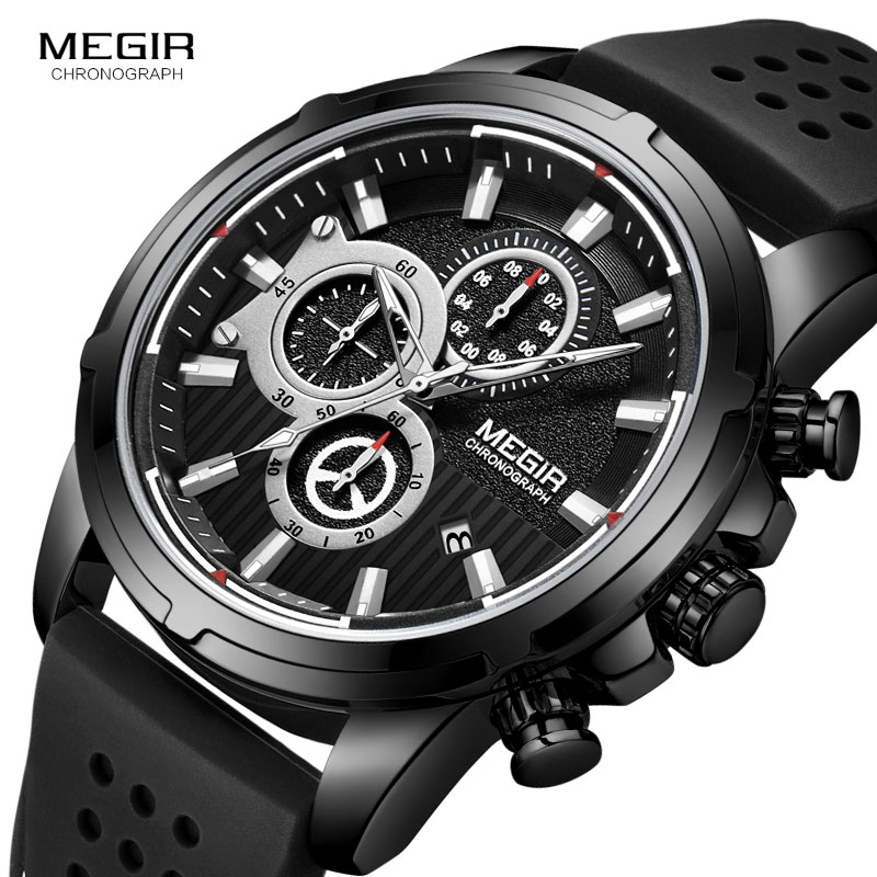 <font><b>MEGIR</b></font> New Military Quartz Watches Men Top Brand Luxury Chronograph Sport Watch Relogios Masculino Silicone Wristwatch Man <font><b>2101</b></font> image