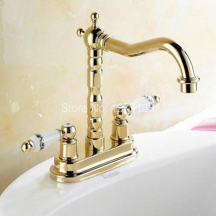 Luxury Gold Color Brass 4 Centerset Kitchen Bathroom Two Holes Basin Faucet Sink Tap Dual Ceramics Handles Swivel Spout anf322 gold color brass dual handles kitchen sink mixer tap bathroom basin mixer tap swivel spout wsf094