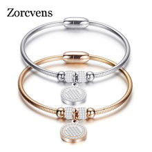 ZORCVENS New High Crystal Quality Bracelet Bangles Coin Magnet Clasp Snake Chain 316L Stainless Steel Wedding Bangles jewelry(China)