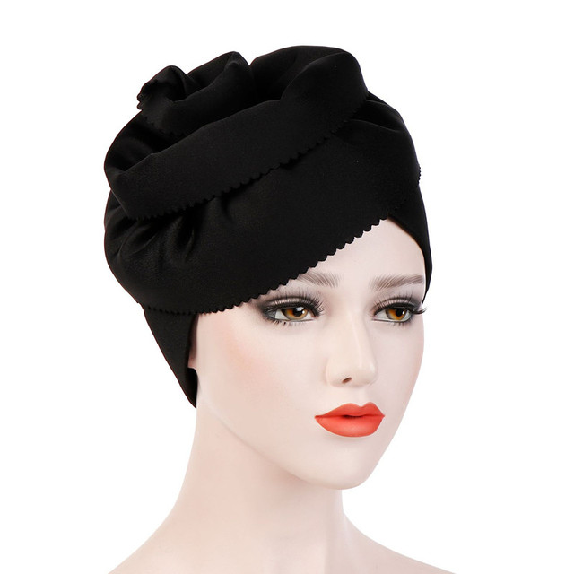 b5b45c481fc Muslim Women Cotton Big Flower Turban Hats Cancer Chemo Beanies Cap Hijab  Pleated Wrap Head Cover Hair Loss Accessories