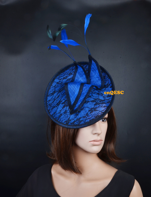 5d2c0ed4c29 Royal black sinamay fascinator Lace fascinator formal hat with feathers for  wedding party kentucky derby Races