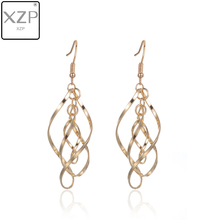 XZP Simple Spiral Curved Long Drop Earrings for Women 2019 Wave Design Fashion Jewelry Wholesale Party Wedding