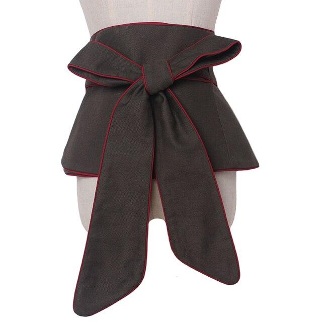Corsé de cintura ancha de encaje para mujer, cinturón de tela de algodón, cinturón de cintura alta, accesorios para mujer