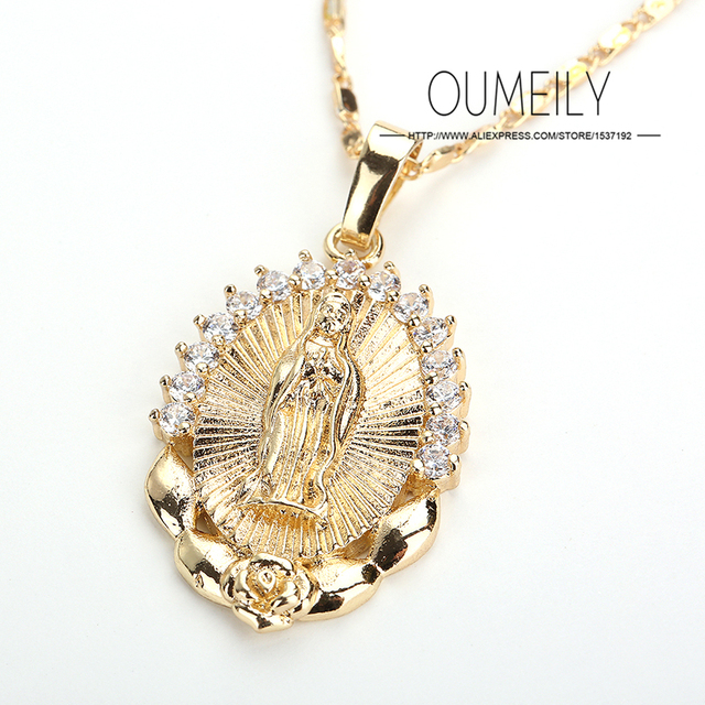 OUMEILY Fashion Jesus Necklace For Women Men Statement Vintage Pendant Holiday Christian African Beads Gold Color Accessories 2