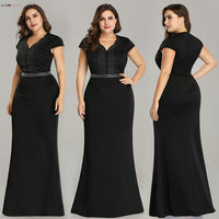 Plus Size Black Evening Gowns Ever Pretty EZ07623 2019 Elegant Mermaid Sparkle V Neck Beaded Long Formal Gowns For Wedding Party Evening Dresses