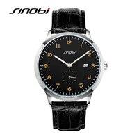 SINOBI Causal Business Men Wrist Watches Leather Watchband Top Luxury Brand Males Geneva Quartz Clock Gentleman