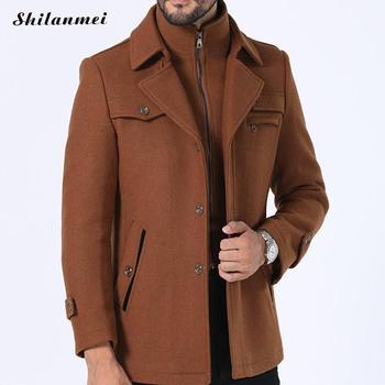 2018 Fake Two Pcs Men'S Winter Coat Fashion Business Solid Thicken Woolen Overcoat Jacket Black Plus Size Male Clothing 3xl