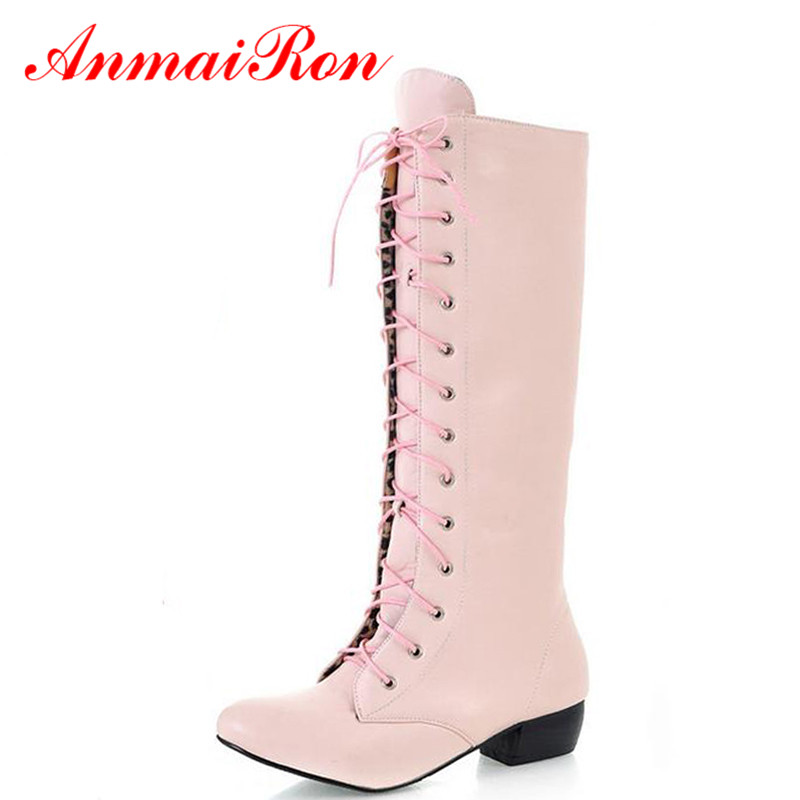 ANMAIRON Boots New Style Round Toe Long Boots for Canvas Shoes Women Shoes Platform Boots Black Pink Large Size Nallow Band boot