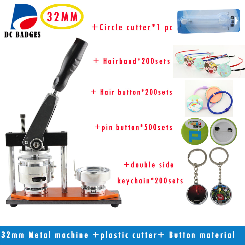 Free Shipping button making machine 32mm Metal Badge Machine +Circle Cutter | pack with 32mm kinds of material free shipping  32mm 33 meters  0 06mm
